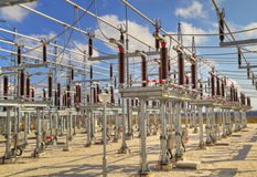 High voltage switchyard Royalty Free Stock Images