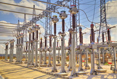 High voltage switchyard Royalty Free Stock Photography