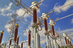 High voltage switchyard Stock Images