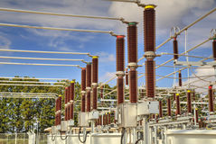 High voltage switchyard Stock Photos