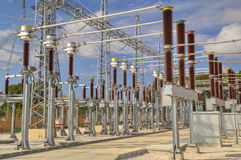 High voltage switchyard Stock Photography