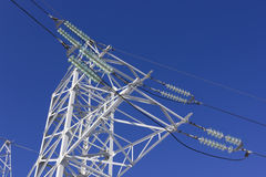 High voltage systems and sky Royalty Free Stock Photo