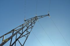 High voltage tower 1. High voltage tower against clear blue sky royalty free stock photography