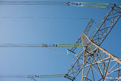 High voltage tower. High voltage electricity goes to town Stock Photos
