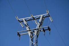 High voltage tower 2. High voltage tower against clear blue sky stock image