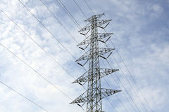 High Voltage tower-4. High Voltage tower with Blue Sky Royalty Free Stock Image