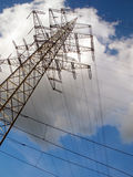 High voltage tower. On blue sky background Stock Photography