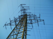 High voltage tower. On blue sky background Stock Photo