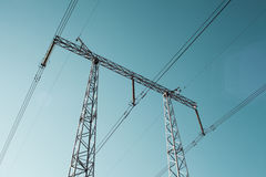 High voltage tower. Tower high voltage against the clear sky royalty free stock photos