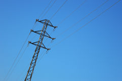 High voltage tower against the sky Royalty Free Stock Photos