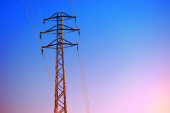 High voltage tower against the sunset Stock Images