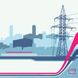 High-voltage tower background. Stock Photos