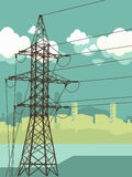 High-voltage tower background. Royalty Free Stock Photos