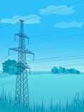 High-voltage tower background. Stock Image