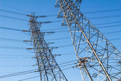 High voltage tower. With blue sky Royalty Free Stock Image