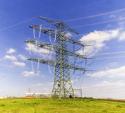 High voltage tower and cable line in the sky.  Stock Photo