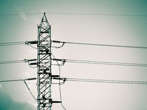 High voltage tower and cable line in the sky. Duo tone color / High voltage tower and cable line in the sky Royalty Free Stock Photography