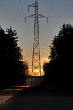 High voltage tower at dawn in Drawskie Lakeland (Poland) Royalty Free Stock Photo