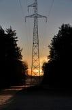High voltage tower at dawn in Drawskie Lakeland (Poland) Royalty Free Stock Photo