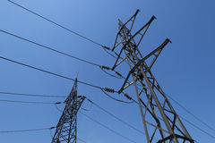 High-voltage tower and electric lines Stock Photography