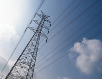 High voltage tower or electricity transmission power lines Royalty Free Stock Photography