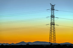 High voltage tower evening Royalty Free Stock Images