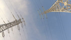 High-voltage tower with high voltage wires stock video