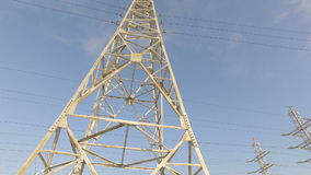 High-voltage tower with high voltage wires. On a background of blue sky stock video footage
