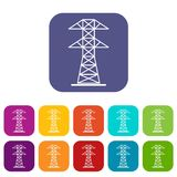 High voltage tower icons set flat Stock Image