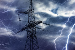 High voltage tower and lightning Stock Photo