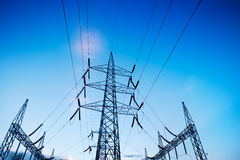 High voltage tower  lines Royalty Free Stock Photos