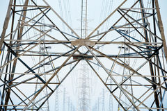 High voltage tower  lines Royalty Free Stock Photo