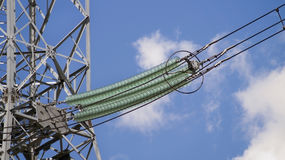 High-voltage tower linking the substation with the cities royalty free stock photos
