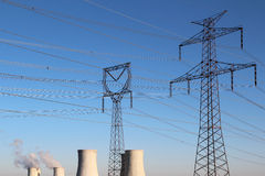 High voltage tower and nuclear power plant Stock Photos
