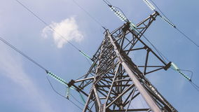 High voltage tower with power cables. Energy industry. Electricity of the net. Substation distribution and. Transportation of electricity by wire stock footage