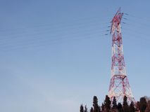 High Voltage Tower and Power Lines Royalty Free Stock Photos