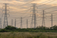 High voltage tower from the power plant industry Royalty Free Stock Photo