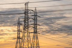High voltage tower from the power plant industry Royalty Free Stock Photography