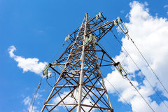 High voltage tower with ragged high-voltage line Stock Photography