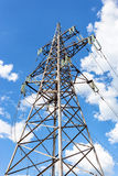 High voltage tower with ragged high-voltage line Royalty Free Stock Image
