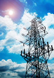 High-voltage tower sky background. High voltage post.High-voltage tower sky background royalty free stock photo