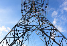High-voltage tower   and sky background. Stock Photography