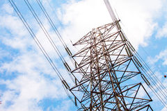 HIgh voltage tower in the sky background Royalty Free Stock Images