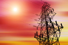 High-voltage tower sky background. High voltage post.High-voltage tower sky background stock image