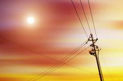 High-voltage tower sky background. High voltage post.High-voltage tower sky background stock photography