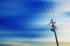 High-voltage tower sky background Royalty Free Stock Images