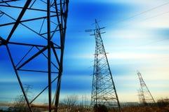 High-voltage tower sky background. High voltage post. High-voltage tower sky background stock photos
