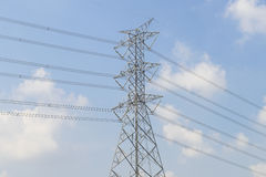 High voltage tower with sky Royalty Free Stock Image