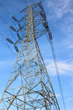 High voltage tower and sky. Royalty Free Stock Photo