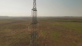 High-voltage tower sky. Aerial view stock footage